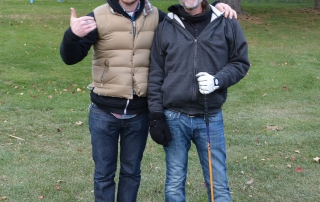 My son Jani and me getting ready to hack-it up at the VA Golf course.