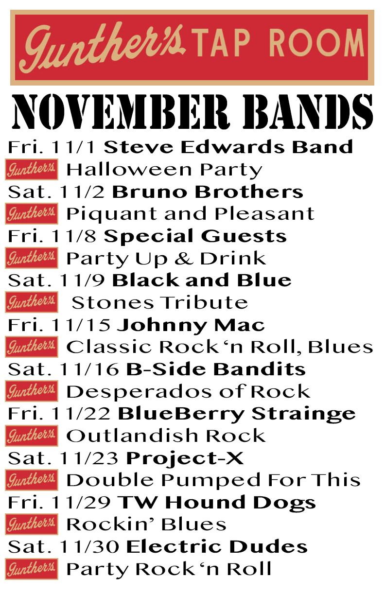 Gunther's Tap Room November 2019 bands