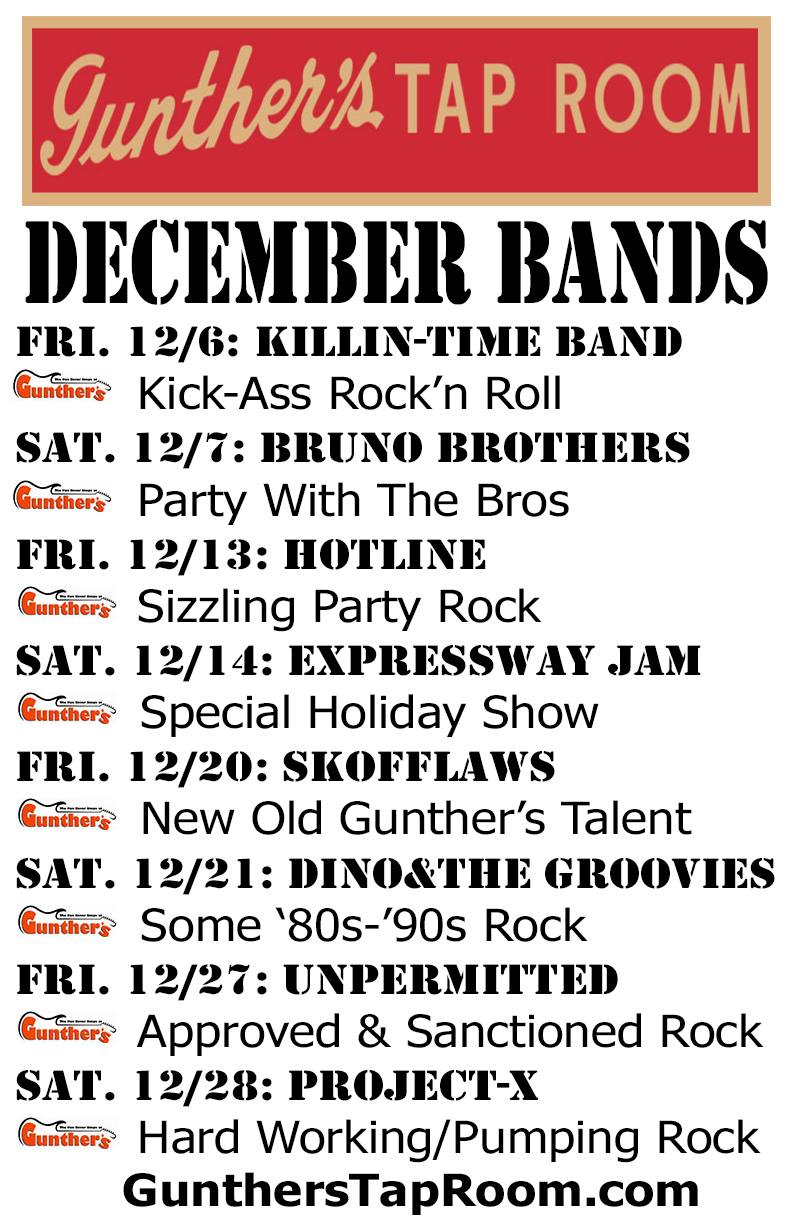 December 2019 Bands and Events @ Gunther's Tap Room